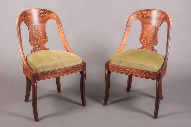 paire de chaises gondoles charles x palissandre jeanselme galerie richard juy mobilier. Black Bedroom Furniture Sets. Home Design Ideas